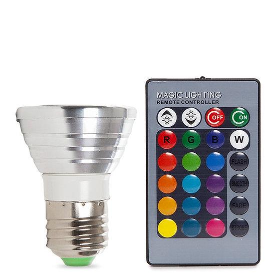 Ampoule LED RGB 'Jambville' 3W E27 Télécommande