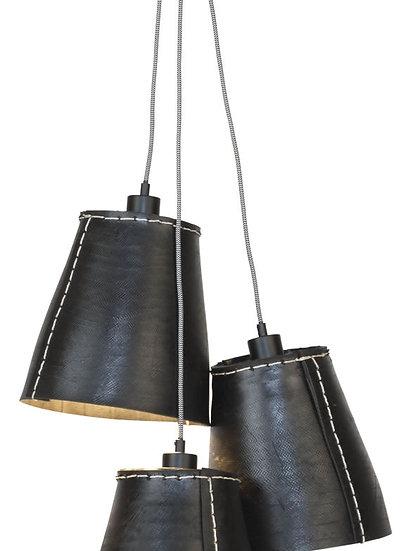 Suspension LED 'Grandcourt' Pneu Recyclé/3-Lamp shades 26xØ26cm L