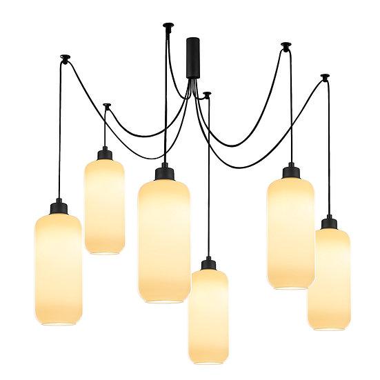 Suspension LED 'Castelginest'Noir 6 x E27