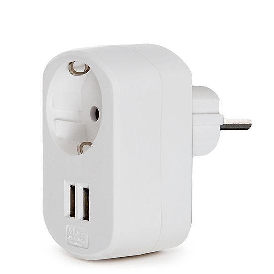 Adaptateur 'Saleux' + 1 X Prise + 2 X Usb Chargeur - IP20 -Blanc