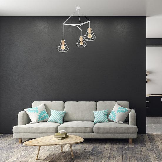 Suspension LED 'Goupillières' 3 xE27 Métal +Bois Sans Ampoule