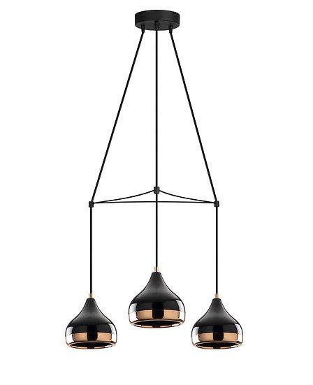 Suspension LED 'Haplincourt 81'Noir/Cuivre 3 xE27