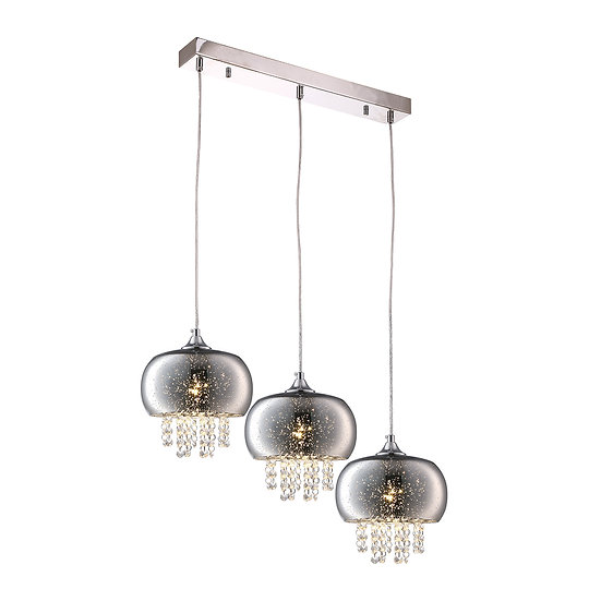 Suspension LED 'Forléans' 3 xE14 Métal + Verre Sans Ampoule