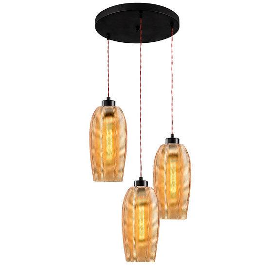 Suspension LED 'Gomer'Noir 3 x E27