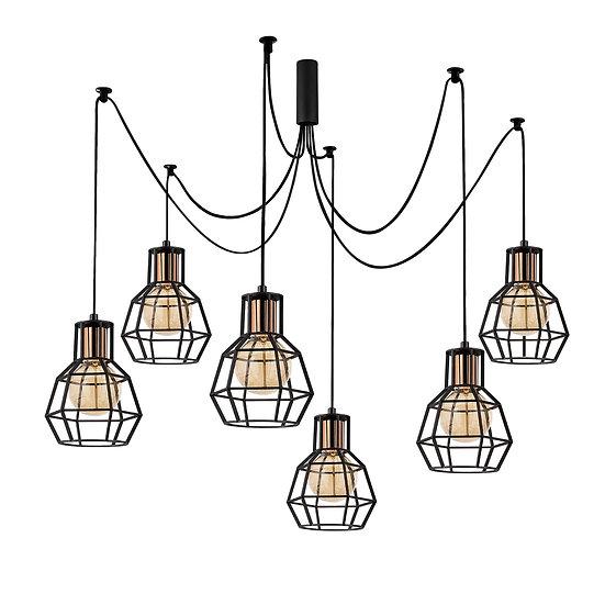 Suspension LED 'Caujac'Noir 6 x E27
