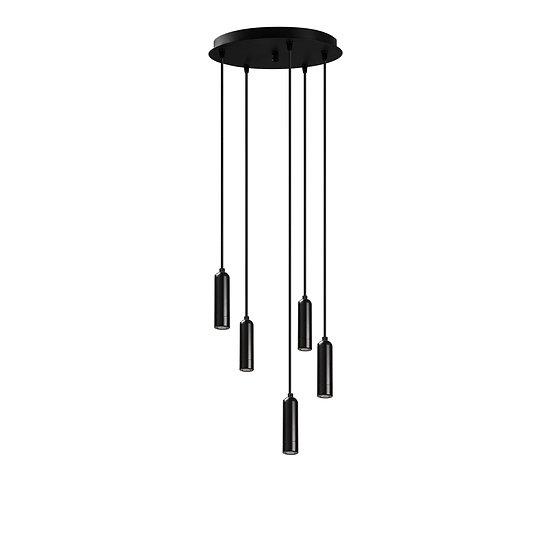 Suspension LED 'Guigny'Noir 5 x 1W 2700K