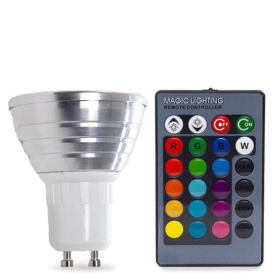 Ampoule LED RGB GU10 'Goupillières' 3W Télécommande