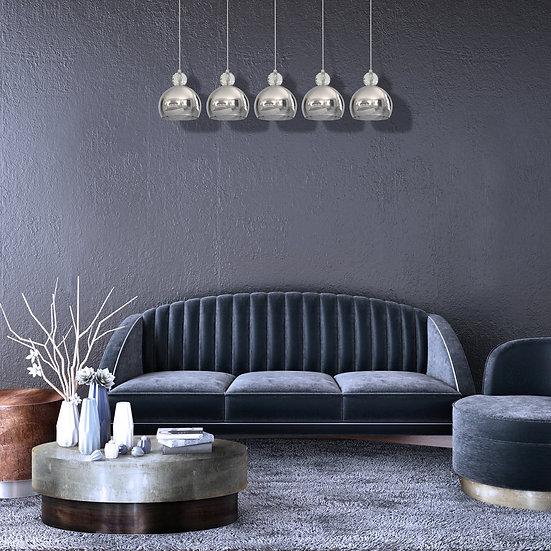 Suspension LED 'Criquiers' 5 xE27 Métal +Verre Sans Ampoule