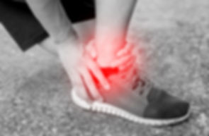 Runner touching painful twisted or broke