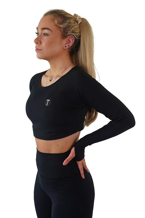 Long Sleeve Crop Top (BLACK)