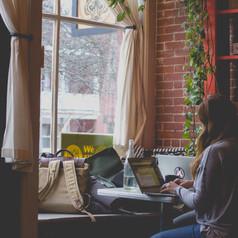 Girl sitting at laptop