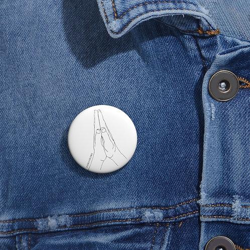 Anjali Mudra Line Art Custom Pin Buttons