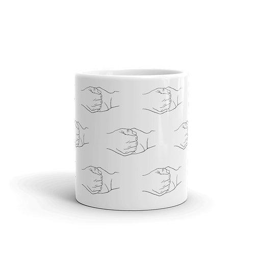Ganesha Mudra Line Art Pattern White Mug