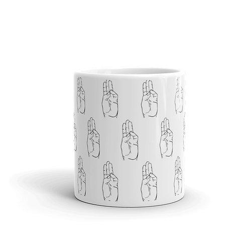 Buddhi Mudra Line Art Pattern White Mug