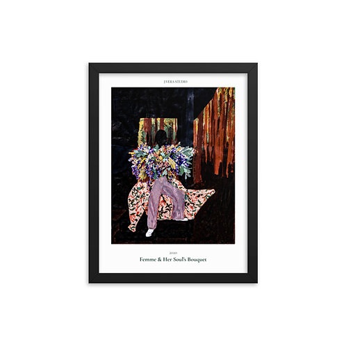 Femme & Her Soul's Bouquet Painting Framed Poster
