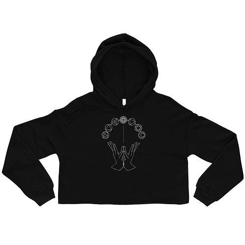 Lotus (Padma) Mudra Line Art Pattern Crop Hoodie