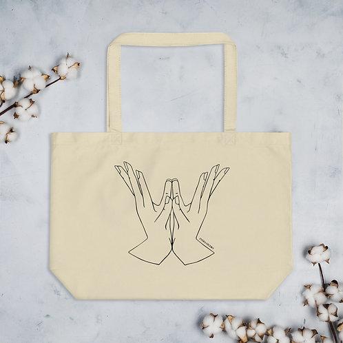 Padma (Lotus) Yoga Mudra Line Art Large Organic Tote Bag copy