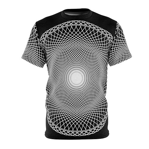 Black Hole Sacred Geometry Mandala Quality Thick Microfiber Knit Tee