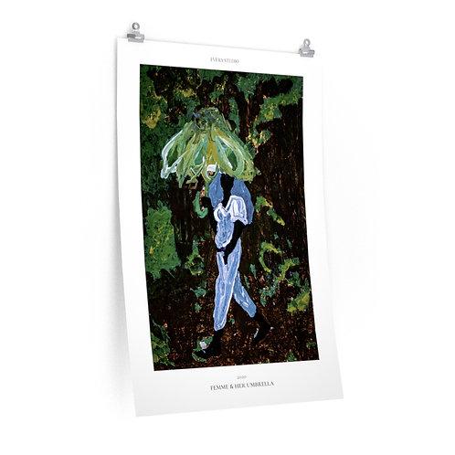Femme & Her Umbrella Painting Premium Matte Vertical Poster