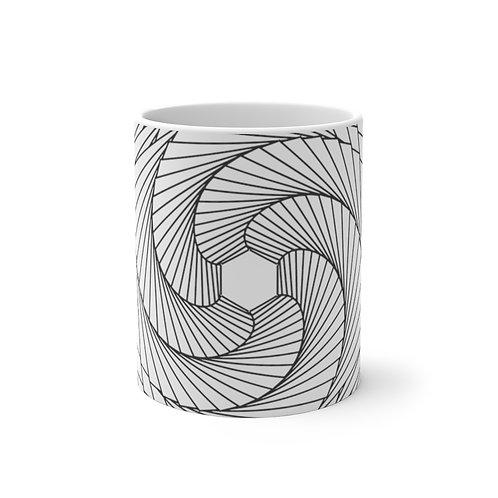 Spiraling Hexagon Sacred Geometry Mandala Color Changing Mug