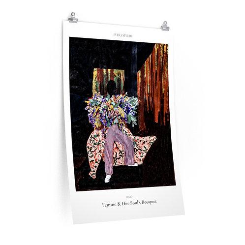 Femme & Her Soul's Bouquet Painting Premium Matte Vertical Poster