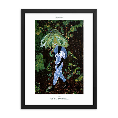 Femme & Her Umbrella Painting Framed Poster