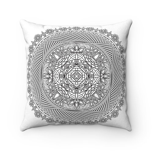 JEM COLLECTION Faux Suede Square Mandala Pillow