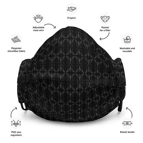 Lotus (Padma) Mudra Line Art Pattern Black & White Premium Face Mask