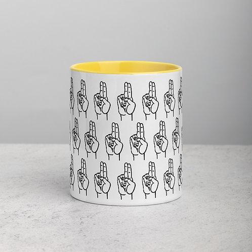 Prana Mudra Line Art Pattern Mug with Color Inside