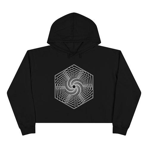 Spiraling Hexagon Sacred Geometry Mandala Crop Hoodie
