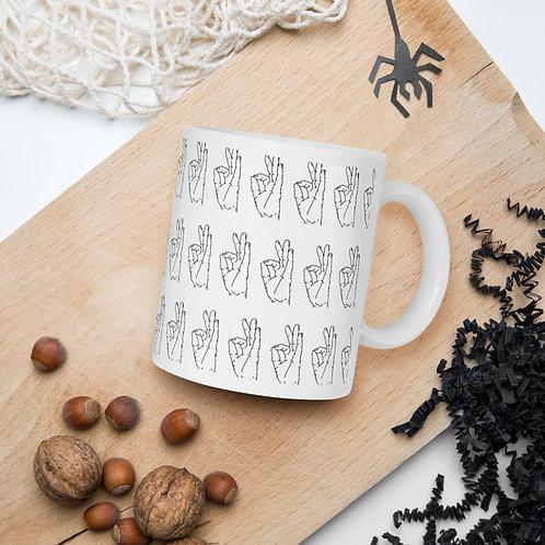 Gyan (Chin) Mudra Line Art Pattern White Mug