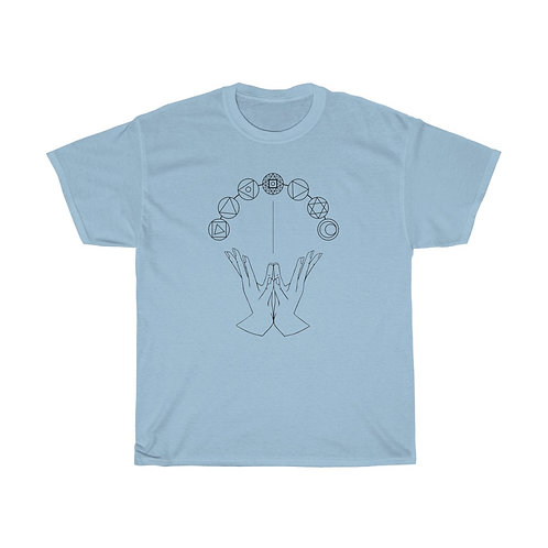 Chakra System and Lotus Mudra Line Art Unisex Heavy Cotton Tee