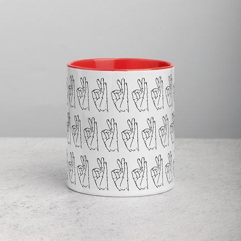 Gyan (Chin) Mudra Line Art Pattern Mug with Color Inside