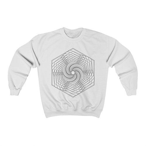 Spiraling Hexagon Sacred Geometry Mandala Unisex Crewneck Sweatshirt