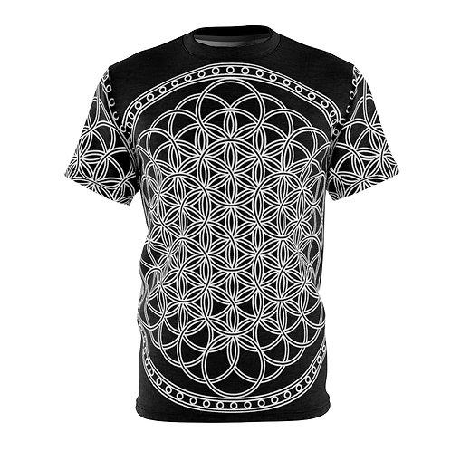 Flower of Life Mandala Sacred Geometry Quality Thick Microfiber Knit Tee