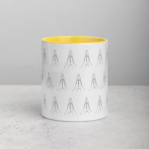 Anjali Mudra Pattern Mug with Color Inside