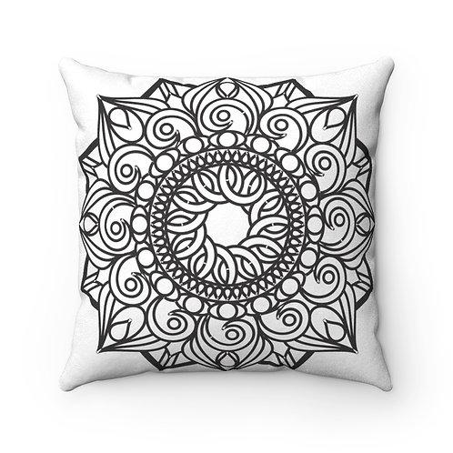 JEM COLLECTION Faux Suede Square Mandala Pillow