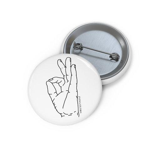 Gyan Mudra Line Art Custom Pin Buttons