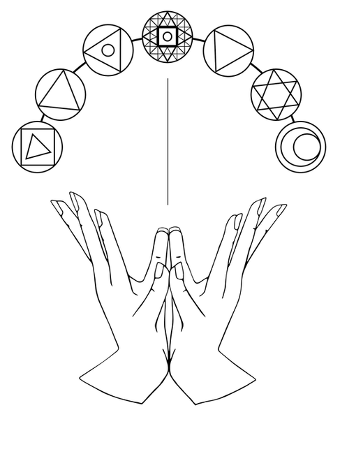 Lotus Mudra + Chakras Line Art