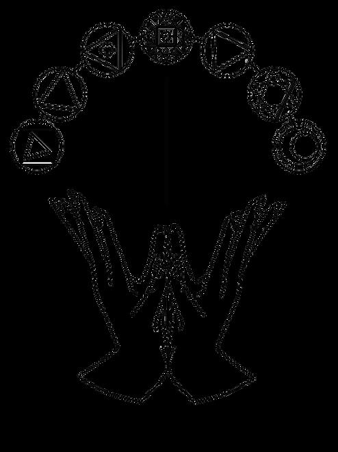 NEW Lotus Mudra + Chakras - black outlin