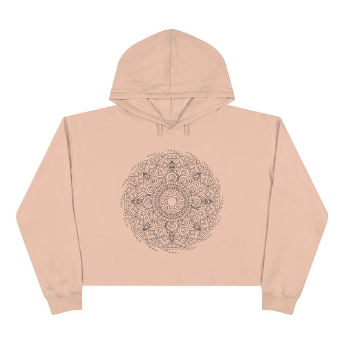 Water In Motion Sacred Geometry Mandala Crop Hoodie