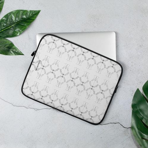 Chakra System & Lotus Mudra Line Art Pattern Laptop Sleeve