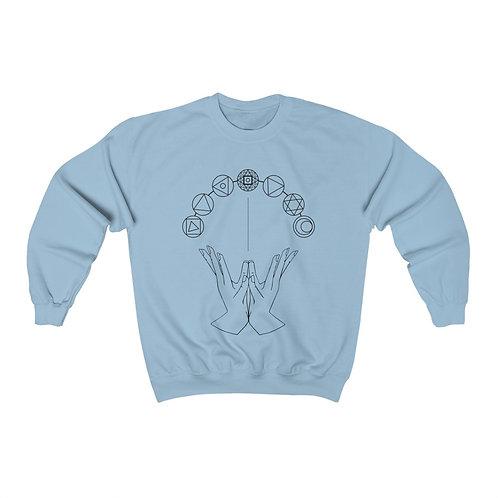 Chakra System & Lotus Mudra Line Art Unisex Heavy Blend™ Crewneck Sweatshirt