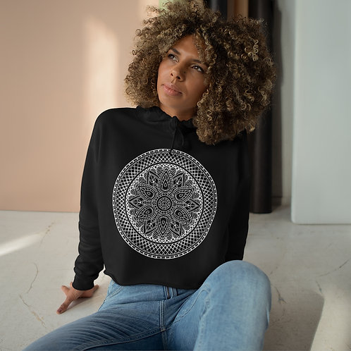 Aztec Sacred Geometry Mandala Crop Hoodie