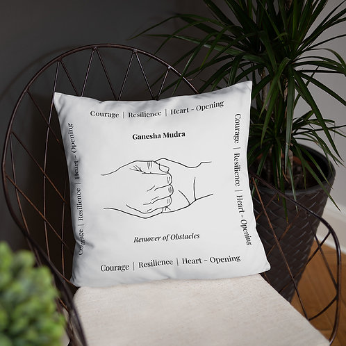 Ganesha Mudra Line Art White Polyester Pillow