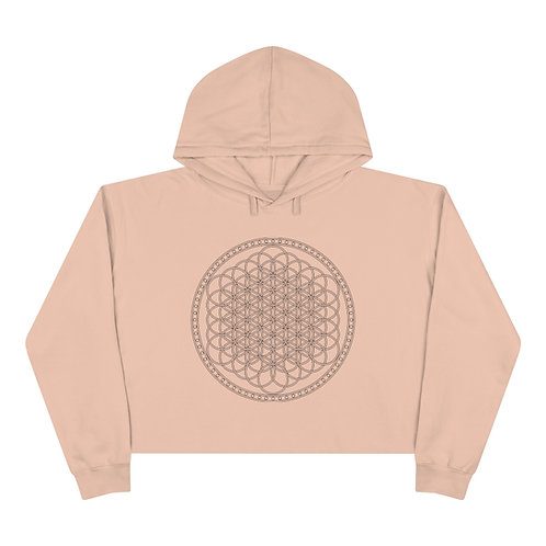 Flower of Life Sacred Geometry Crop Hoodie