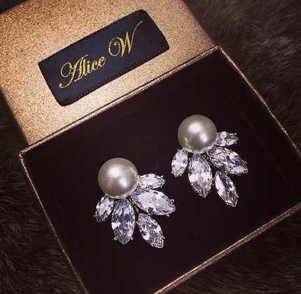 =Alice W= 訂製款鋯石夾式耳環 (復古珍珠款)