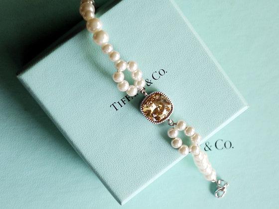 =Alice W 訂製款= 施華洛世奇方形大鑽蝴蝶結珍珠手鍊