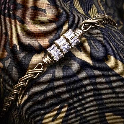 =Alice W 訂製款= 三環鋯石黃銅編織手鍊
