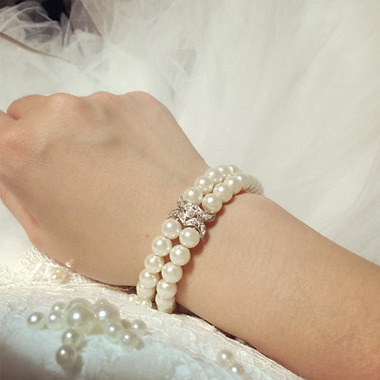 =Alice W 訂製款= 雙排珍珠水攥手鍊